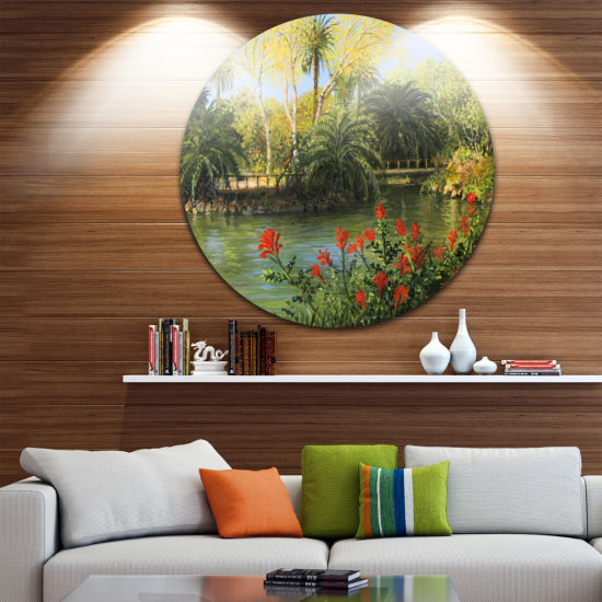 Design Art Garden of Eden Landscape Metal Circle Wall Art