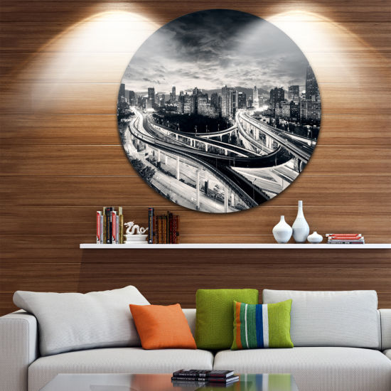 Design Art Dark Shanghai City Disc Cityscape Photography Circle Metal Wall Art