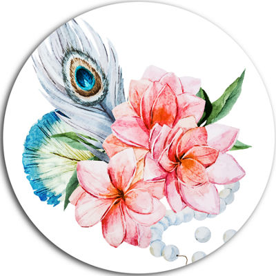 Design Art Flowers and Peacock Feather Disc FloralCircle Metal Wall Art