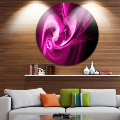Design Art Colored Smoke Spiral Purple Abstract Circle Metal Wall Art