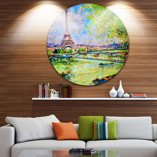Design Art Colorful Painting of Eiffel Disc Landscape Circle Metal Wall Art