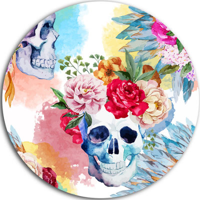 Design Art Ethnic Skull with Flowers Disc Floral Circle Metal Wall Art