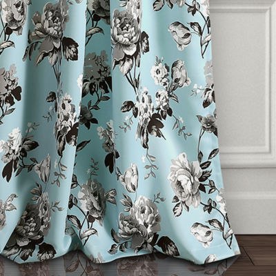 Half MoonTania Floral Room Darkening Window Curtain Panels