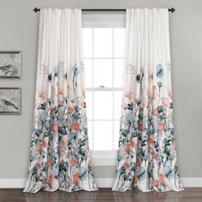 Half MoonZuri Flora Room Darkening Window Curtain Blue/Coral Set 52x84