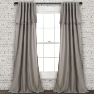 "Lush DecorIvy Tassel Window Curtain Panels Gray Set 40""x84"