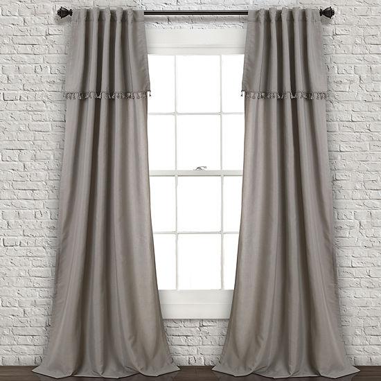 "Lush DecorIvy Tassel Window Curtain Panels Gray Set 40""x84"""