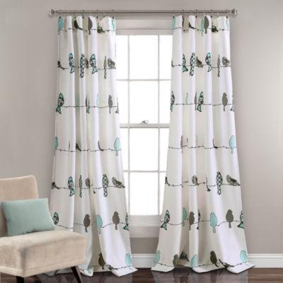 Half Moon Rowley Birds Room Darkening Window Curtain Panels Set