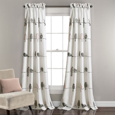 Half Moon Rowley Birds Room Darkening Window Curtain Panels Set