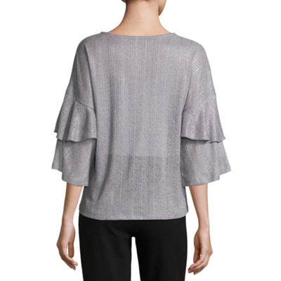 Liz Claiborne Tiered Sleeve Crew Neck Crepe Blouse-Womens