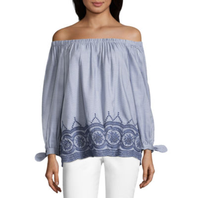 John Paul Richard Tie Sleeve Off The Shoulder Embroidered Blouse