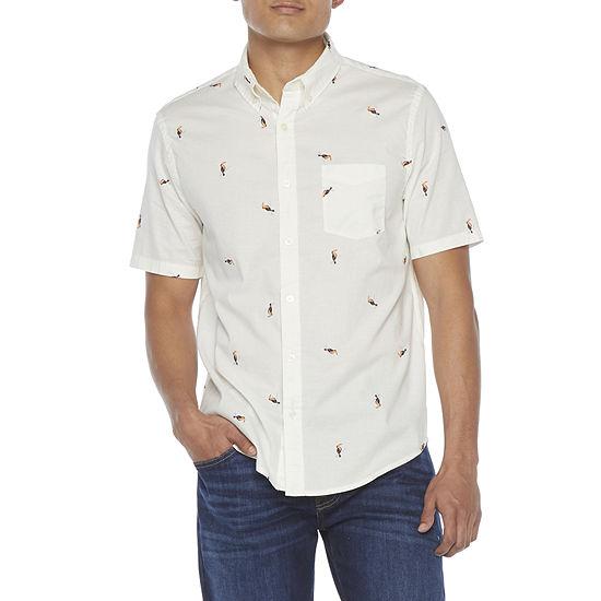 Arizona Mens Short Sleeve Button-Down Shirt