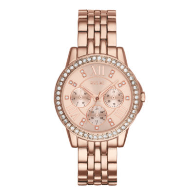 Relic® Womens Crystal-Accent Rose-Tone Bracelet Watch ZR15755