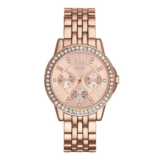 Relic By Fossil Womens Multi-Function Rose Goldtone Bracelet Watch-Zr15755