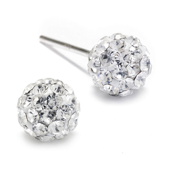 Silver Treasures Sterling Silver Crystal Ball Stud Earrings