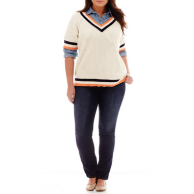 jcpenney.com | Stylus™ Tennis Sweater, Denim Shirt or Straight-Leg Jeans