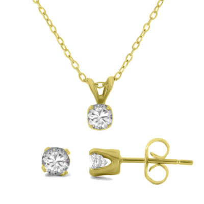 1/2 CT. T.W. Diamond 14K Gold Stud Earring & Pendant Necklace Solitaire Set
