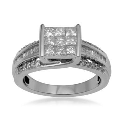 1 CT. T.W. Diamond 10K White Gold Multi-Top Bridal Ring