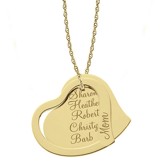 Personalized 14K Gold Over Silver Family Name Pendant Necklace