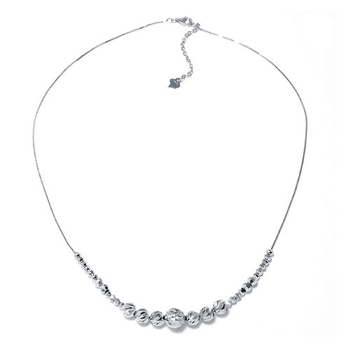 Sterling Silver Diamond-Cut Graduated Bead Necklace