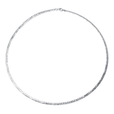Made in Italy Sterling Silver Diamond-Cut Omega Necklace
