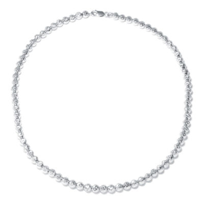 Made in Italy Sterling Silver Diamond-Cut Bead Necklace