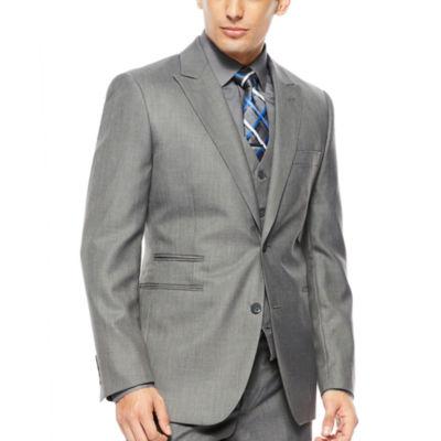 JF J.® Ferrar 2-Button Gray Sharkskin Suit Jacket - Classic Fit