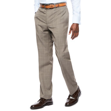 Collection by Michael Strahan Brown Tic Plaid Flat-Front Suit Pants - Classic Fit