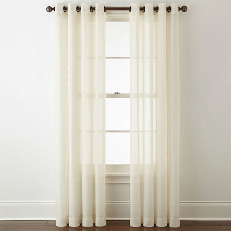 JCPenney Home Sheer Grommet-Top Single Curtain Panel, One Size , White