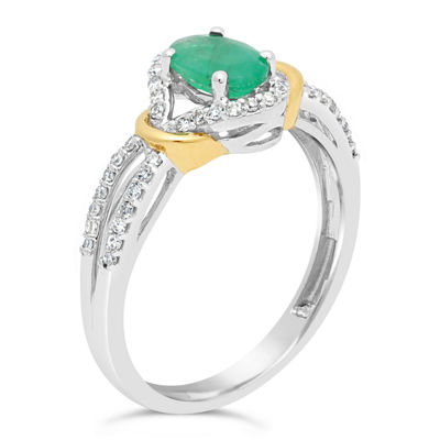 Womens 1/5 CT. T.W. Genuine Green Emerald 10K Two Tone Gold Oval Cocktail Ring