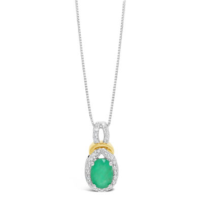 Womens 1/8 CT. T.W. Genuine Green Emerald 10K Two Tone Gold Oval Pendant Necklace