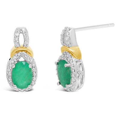 1/5 CT. T.W. Genuine Green Emerald 10K Two Tone Gold 13mm Oval Stud Earrings