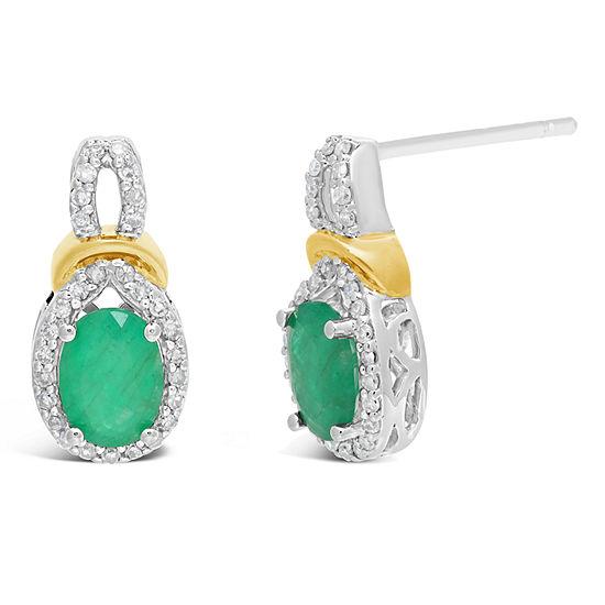 1/5 CT. T.W. Genuine Green Emerald 10K Two Tone Gold 13mm Oval Stud Earrings