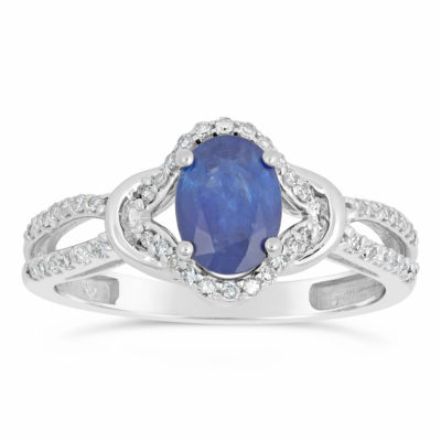 Womens 1/5 CT. T.W. Genuine Blue Sapphire 10K White Gold Oval Cocktail Ring