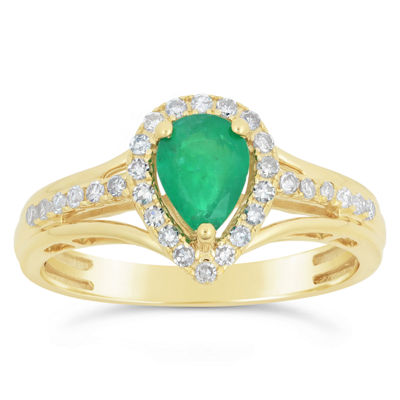 Womens 1/5 CT. T.W. Genuine Green Emerald 10K Gold Pear Cocktail Ring