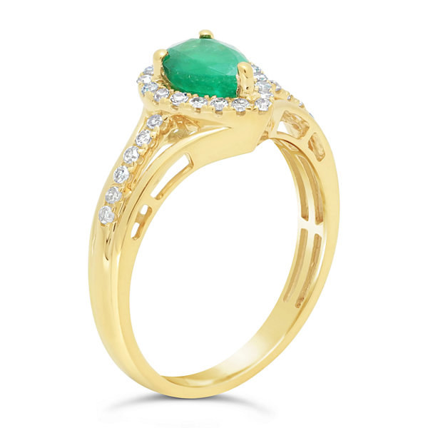 Womens 1/5 CT. T.W. Genuine Green Emerald 10K Gold Cocktail Ring