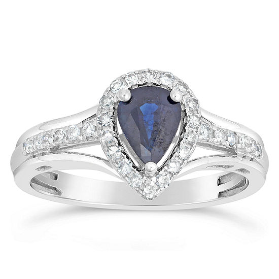 Womens 1/5 CT. T.W. Genuine Blue Sapphire 10K White Gold Pear Cocktail Ring