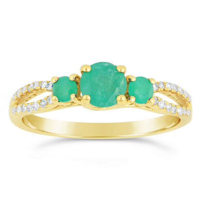 Womens 1/8 CT. T.W. Green Emerald 10K Gold 3-Stone Ring