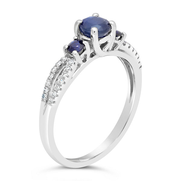 Womens 1/8 CT. T.W. Genuine Blue Sapphire 10K Gold 3-Stone Ring
