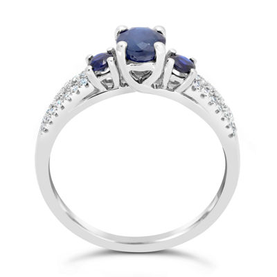 Womens 1/8 CT. T.W. Genuine Blue Sapphire 10K White Gold Round 3-Stone Ring