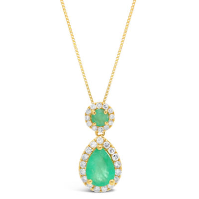 Womens 1/6 CT. T.W. Genuine Green Emerald 10K Gold Pear Pendant Necklace