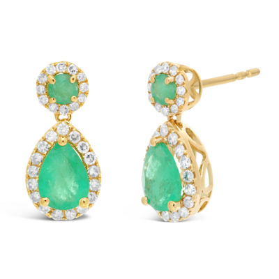1/4 CT. T.W. Genuine Green Emerald 10K Gold Pear Drop Earrings