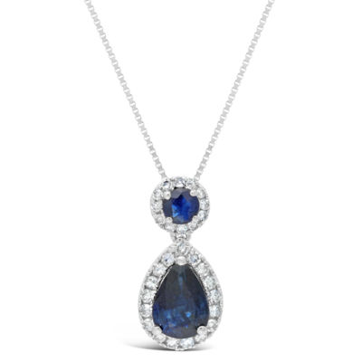 Womens 1/6 CT. T.W. Genuine Blue Sapphire 10K White Gold Pear Pendant Necklace