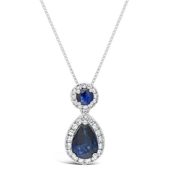 Womens 1/6 CT. T.W. Genuine Blue Sapphire 10K White Gold Pear Pendant Necklace