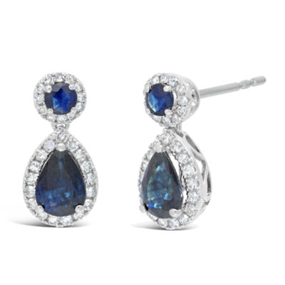1/4 CT. T.W. Genuine Blue Sapphire 10K White Gold 14mm Pear Stud Earrings