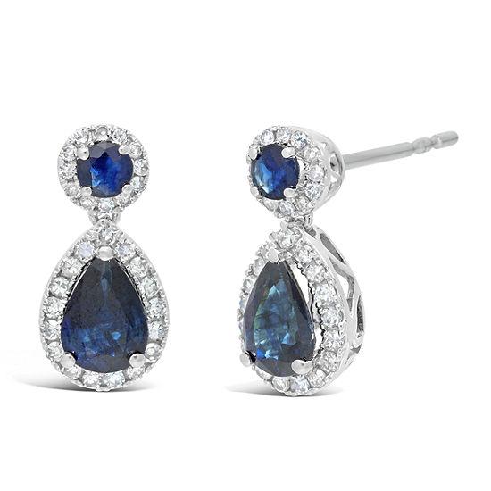 1 4 Ct Tw Genuine Blue Sapphire 10k White Gold 14mm Pear Stud Earrings
