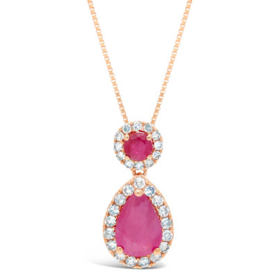 Womens 1/6 CT. T.W. Lead Glass-Filled Red Ruby Pear Pendant Necklace