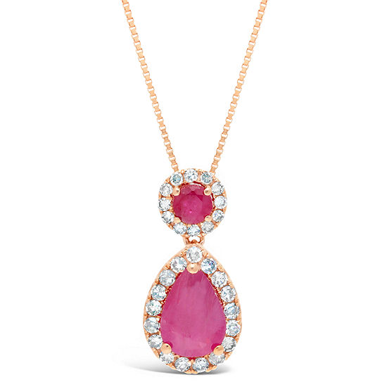 Womens 1 6 Ct Tw Lead Glass Filled Red Ruby 10k Rose Gold Pear Pendant Necklace