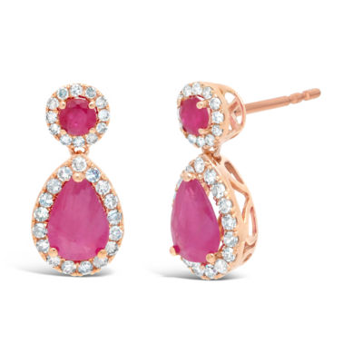 1/4 CT. T.W. Lead Glass-Filled Red Ruby 10K Rose Gold 14mm Pear Stud Earrings
