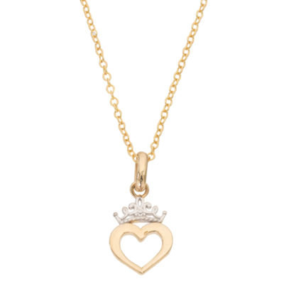 Disney Girls 14K Gold Heart Pendant Necklace