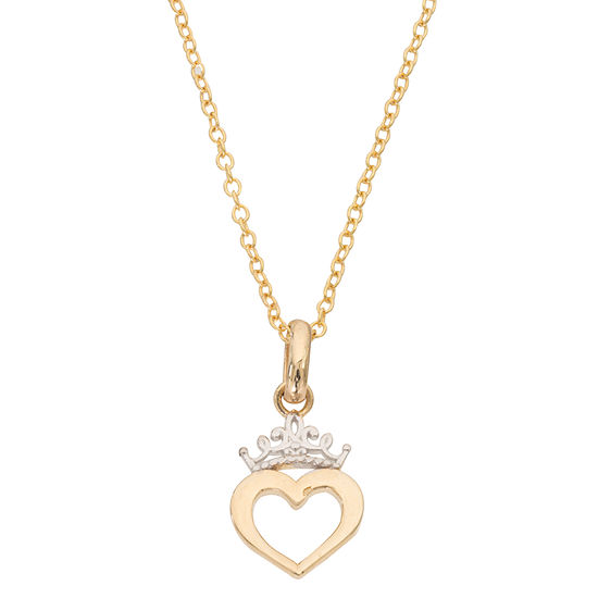 Disney Collection Girls 14K Gold Heart Disney Princess Pendant Necklace